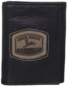 NEW John Deere Black Leather Historical Logo Trifold Wallet LP35478