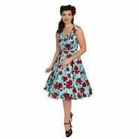 Hearts & Roses London Blue and Red Floral Vintage Retro 1950s Flared Tea Dress