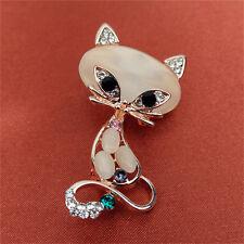 Women Fashion Animal Pin Brooch JewelrNwus Gold Filled Opal Stone Fox Brooches
