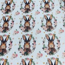 "Brand New - Faux Leather Fabric Sheet - Rabbit & Flowers Design - 7.5"" x 13.5"""