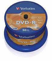 50 DVD-R VERBATIM 16X 4.7 GB SUPPORTI 120MIN PER FILM GIOCHI MUSICA QUALITA' TOP