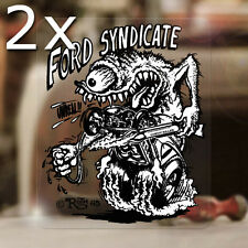 """2x pieces Ford Syndicate Ed Roth sticker decal hot rod rat fink old school 3.75"""""""
