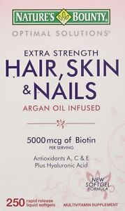 Nature's Bounty Hair Skin and Nails 5000 mcg of Biotin - 250 Coated Tablets R...