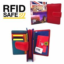 RFID SAFE Prime Hide London Collection Red Multi Coloured Leather Purse 6081