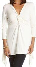Karen Kane Cream Stretch Jersey Twist Front Handkerchief Hem Top  SIZE XL NWT