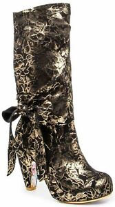 Irregular Choice Party pants (AA) Black Floral Zip Up Boots Shoes