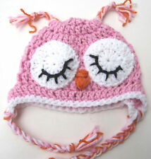 NEW INFANT BABY CROCHET OWL EAR FLAP HAT cap beanie pink girl photo prop USA