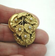 Beautiful Victorian  Pinchbeck Rolled Gold And Pearl Leaf Shaped Brooch