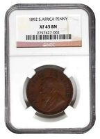 1892 South Africa Zuid Afrika Kruger Penny NGC XF 45 BN Great Coin XF45BN