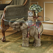 Royal Holi Festival Indian Pachyderm Elephant Glass Top Side Occasional Table