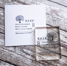 RSVP Wedding Party stamp, DIY wedding custom stamp Tree design