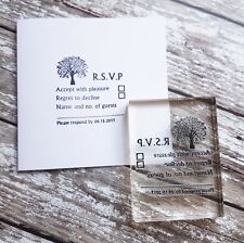 Sello de RSVP Boda Fiesta, diseño de árbol de sello personalizado de boda Hágalo usted mismo
