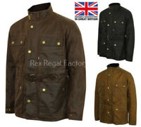 Mens Lewis Creek Motorcycle Wax Cotton Jacket Biker Waxed Belted Coat British UK
