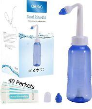 Croing 300Ml Bottle + 40 Packets Nasal Salt Sinus Rinse Wash Kit Nose Unblock