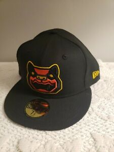 """NEW ERA (5950) NH FISHER CATS MINOR LEAGUE """"BLACKOUT"""" FITTED HAT 7 1/2 NEW $38"""