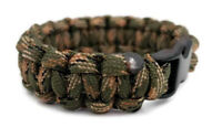 """Paracord Bracelet 550 Black Tactical 3/8"""" Buckle (Green Camo) Hand Made"""