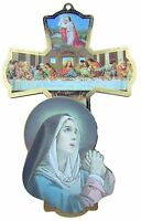 Virgin Mary Last Supper Jesus Christ with 12 Apostles Wood Wall Cross, 6 Inch