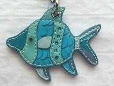 NEW COACH LEATHER FISH KEY FOB KEYRING KEYCHAIN 92310