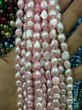 """7-9mm Water pink Freshwater Cultured Pearl Flat Gemstone Loose Beads 13"""""""