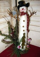 COUNTRY TALL SNOWMAN on a GRAPE VINE WREATH for  WINTERY WELCOME