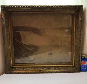 Vtg Victorian Ornate Wood Chalk Frame Herman F. Nielson Pic Print Niagara Falls