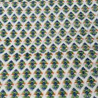 """Fabric Material Sheer 148"""" x 44"""" Green Blue Orange Small Floral Clusters Thin"""