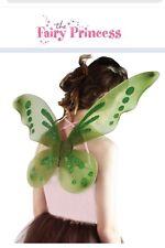 Girls Adult Glitter Olive Green Fairy Pixie Nymph Festival Fancy Dress Up Wings