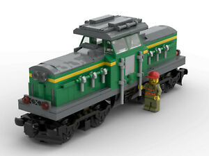 Lego® MOC Diesellok 'V100', Güterzug, Lok, Eisenbahn für 60198 60197 oder 10277