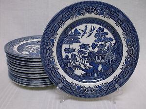"Churchill Blue Willow England Set of 14 Salad Plates 8"""