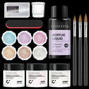 COSCELIA Acrylic Powder Liquid Nail Starter Kit Glitter Nail Forms Brush Set UK