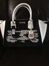 RIVER ISLAND Black White Winged Tote Shopper Large Handbag BNWT