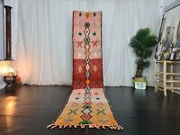 "Moroccan Handmade Boujaad Runner Rug 2'3""x11' Geometric Red Orange Berber Rug"