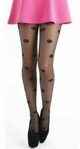Pamela Mann Big All Over Spot Tights.Black 96% Nylon 4% Elastane 1 Pair one size