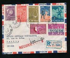 VIETNAM 1965 MULTI FRANKING REGISTERED AIRMAIL HANDSTAMPS to SWITZERLAND