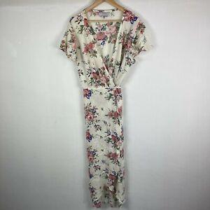 Auguste The label Wrap Dress 14 White Floral Short Sleeve V-Neck Tie Boho