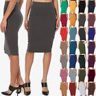 TheMogan S~3XL Comfort Stretch Cotton Elastic High Waist Knee Midi Pencil Skirt