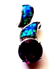 P145 NICE AMETHYST & CREATED OPAL STERLING SILVER 925 PENDANT