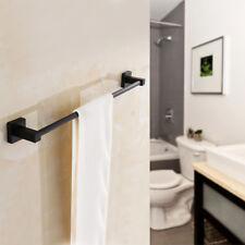 Matt Black Bathroom Wall Mounted Towel Rail Holder Shelf Storage Rack Bath Stand