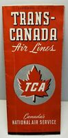 Vintage Trans Canada Airlines TCA 1943 Time Table   PK31