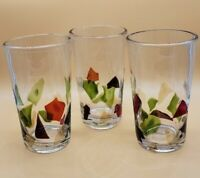 Vintage Hand Blown Glasses Fused Glass Confetti Tumblers Green Red Blue Purple
