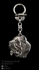 Neapolitan Mastiff silver covered keyring, high quality keychain Art Dog