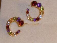 Multicolor Edelsteine Silber Creolen vergoldet