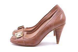 ZARA Pumps Gr. 38 UK 5 Braun Kunstleder Damen Schuhe High Heels TOP WIE NEU