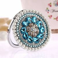 Personalized Stainless Steel Compact Mirrors Rhinestone Makeup Pocket Mirror New
