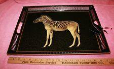 Vintage Artist Made Decoupage Zebra Tray has Tennille Designs Tag