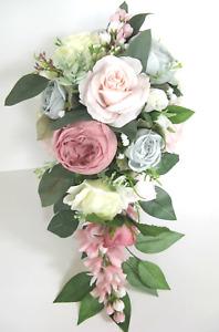 Wedding Bouquet 17 piece package Bridal Silk Flowers BLUE SAGE MAUVE PINK BLUSH