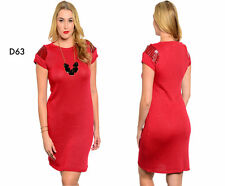 D63 Womens Size 16/18 Red Short Sleeves Bodycon Stretch Office Party Dress Plus