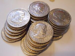 Lot of 20 Random Susan B Anthony Silver Dollars 1979-1999 SBA $1 Coin Hoard!