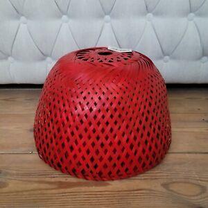 30cm Red Double Dome Mesh Retro Light Shade Wicker