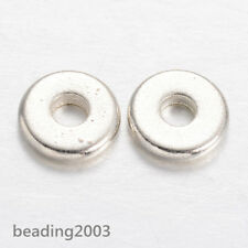 50pcs Disc Brass Bead Spacers Metal Beads Silver/Platinum 6x1.3mm Making Finding